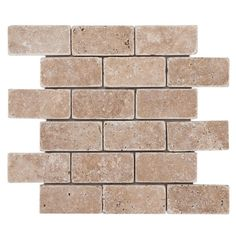 Noce Brick Travertine Mosaic - 12in. x 12in. - 932260449 | Floor and Decor