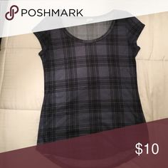 Top Beautiful plaid navy top worn maybe twice None Tops Blouses