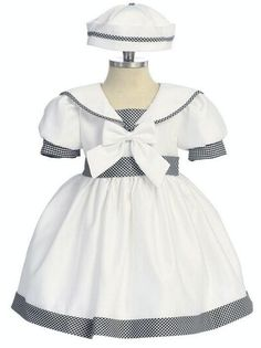 Sweet sailor dress with gingham Cute Outfits For Kids, Toddler Outfits, First Birthday Dresses, Belle Costume, Sailor Fashion, Royal Dresses, Sailor Dress, How To Make Clothes, Couture