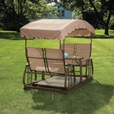 Sears Garden Oasis Four Person Glider Swing Replacement Canopy This reminds me of the old fashioned swings when I was a little girl. & Cedar Covered Garden Swing Bench Seat Wood Outdoor Glider Roof ...