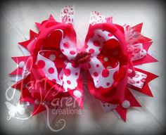 Valentine Boutique Spiked Layer Bow  by HartOfKarenCreations, $15.00