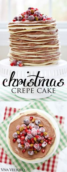 - Made with layers of delicious crepes and chocolate mousse and topped with sugared cranberries, pomegranates, and pistachios for a Christmas dessert that looks incredible!! #SweetenYourSeason #IC #AD