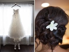 wedding hair with flower. Like the poof at the top and how the hair is gathered at the bottom.