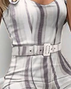 Shop Thin Strap Striped Buttoned Detail Jumpsuit right now, get great deals at joyshoetique Trend Fashion, Fashion Night, Fashion Over 40, Women's Summer Fashion, Fashion Outfits, Womens Fashion Online, Trends, Pattern Fashion, Stylish Outfits