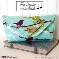 The Quarter Note Clutch PDF Sewing Pattern  Purse di EmmalineBags, $9.95