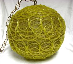 Vintage Mid Century Yellow Spaghetti String Eames Era Swag Hanging Lamp Light