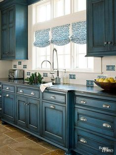 4 Motivated Tips: Kitchen Remodel Layout Half Walls kitchen remodel with island farmhouse.Oak Kitchen Remodel On A Budget kitchen remodel layout half walls. Blue Kitchen Cabinets, Painting Kitchen Cabinets, Kitchen Paint, Dark Cabinets, Cupboards, Kitchen Island, Teal Kitchen, Long Kitchen, Narrow Kitchen