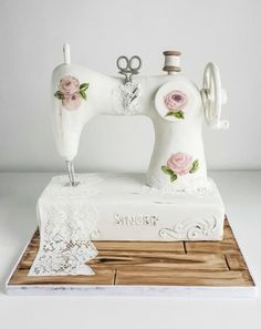 Went completely out of my comfort zone and undertook a structural cake. Although simple for some I have not done many cakes requiring internal structure so really pleased how my vintage sewing machine cake came out! Base is cake with top being. Pretty Cakes, Cute Cakes, Beautiful Cakes, Amazing Cakes, Crazy Cakes, Fancy Cakes, Sewing Machine Cake, Sewing Cake, Sewing Machines