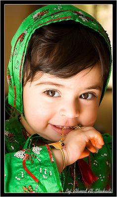 Arab girl, cute, happy child.