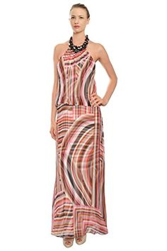 Multi, Dramatic striped silk gown with beaded necklace halter. Features two layers of swirling stripes. Fully lined. Back zipper finishing with button and loops.