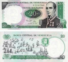 Otro billete clásico de la infancia de muchos venezolanos. Esta versión de 20 bolívares con la imagen de Rafael Urdaneta y de la batalla naval del lago de Maracaibo salío a la calle en el año 1987.