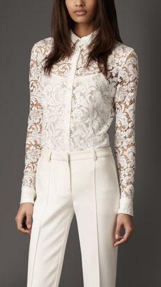 Burberry London cotton blend lace shirt 1