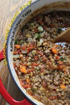 Sausage and Lentil Soup | Kathy's Kitchen Table - One of our favorite soups. A copycat of Carrabba's Italian Grill!