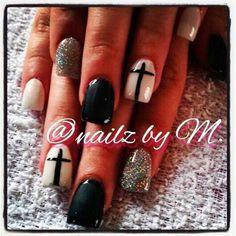 glitter, black and white with cross by hellpasonails - Nail Art Gallery nailartgallery.nailsmag.com by Nails Magazine www.nailsmag.com #nailart