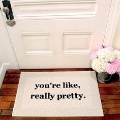 You can't sit with us! // Mean Girls quote door mat is creative inspiration for us. Get more photo about home decor related with by looking at photos gallery at the bottom of this page. Boho Apartment, Apartment Living, Apartment Ideas, College Girl Apartment, College Apartments, Apartment Door, Cheap Apartment, University Apartments, College Apartment Decorations