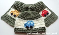 Child's hat & scarf set with car motifs free crochet pattern from http://www.patternsforcrochet.co.uk/hat-scarf-usa.html #freecrochetpatterns #patternsforcrochet