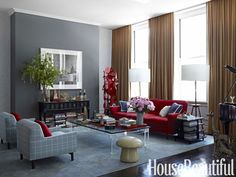 Modern Living Room love the red and gray