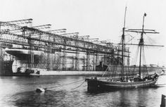 The ships of the Olympic line were so large that special gantries had to be built in order to construct them.