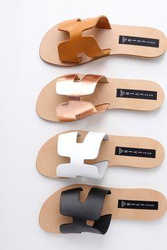 Greece Black Leather Slide Sandals 1