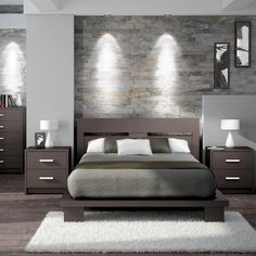 first impression: stone wall w/ lighting, sleek Stellar Home Cosmopolis Queen Platform Bedroom Collection | Wayfair