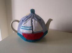 Knitting Pattern for Sunny Seaside Tea Cosy by BuzybeeKnits Tea Cosy Knitting Pattern, Tea Cosy Pattern, Knitting Patterns, Tea Warmer, Tea Cozy, Chain Stitch, Seaside, Knit Crochet, Applique