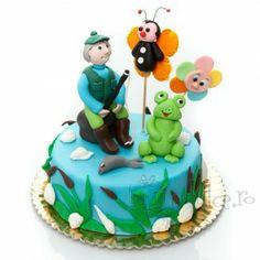 Tort Pescarul norocos cu decor in martipan Cake, Desserts, Food, Tailgate Desserts, Deserts, Kuchen, Essen, Postres, Meals