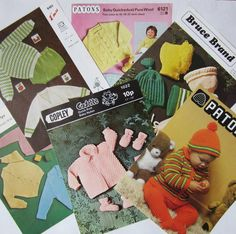Selection of 6 Vintage Baby Knitting Patterns £4.50