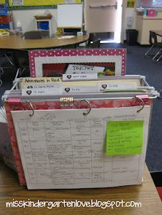 teacher desktop organizer, with weekly plan on the front.  she has tabs for:  to copy, to do, to file, to send home & next week.  the cute printable to do list is sticking up in the back :)  this blog has lots of cute ideas for classroom!