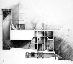 """Comfortable House, 1977 – periscope section...love the drawing, space in rendered with tone and shadow and solid is rendered as a featureless ubiquitous white """"frame"""" for the spaces. Good composition"""