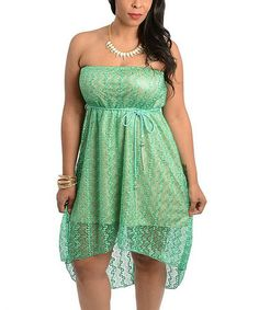 Another great find on #zulily! Green Lace-Overlay Belted Strapless Dress - Plus #zulilyfinds