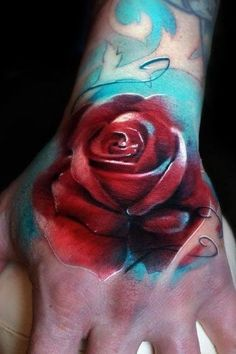 Watercolor Red Rose Tattoo On Hand