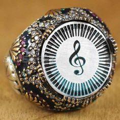 925 sterling silver men treble clef symbol piano enamel  - 6452