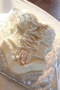 image of Wedding Bridal Shower or Bachelorette Party Cake Ideas ♥ White Lace Lingerie Bachelorette Party Cake