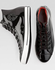 Converse Black Patent Leather High-Top Tennis Shoes $60