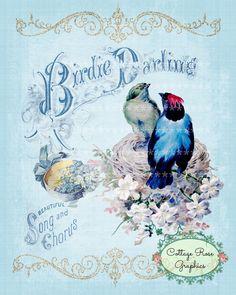 Vintage music Birdie Darling Large digital by CottageRoseGraphics