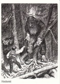 from Norwegian Folk Tales Troll Stories illustrated by the great Norwegian painter/illustrator: Kittelsen -- worth looking into if not familiar with. And especially if you are a Troll fan. Most Popular Artists, Great Artists, Theodore Kittelsen, Ink Illustrations, Illustration Art, Arte Horror, Norse Mythology, Arte Pop, Nature Paintings