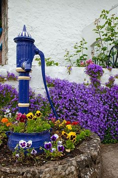 Flowers And Garden Ideas : Blue Garden Water Pump Unique Garden, Diy Garden, Dream Garden, Garden Art, Garden Landscaping, Garden Design, Colorful Garden, Garden Ideas, Purple Garden