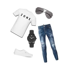 """""""Simple"""" by hamza-dogic ❤ liked on Polyvore featuring Dsquared2, Vans, Yves Saint Laurent, Emporio Armani, men's fashion and menswear"""