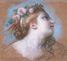 Élisabeth Louise Vigée Le Brun, 1755-1842, Study for Abundance, 1780.  Pastel and black chalk on paper, 45 × 48 cm.  Rococo, Neoclassicism.