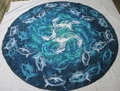 """Batik Tablecloth for Dolphin Fans """"Dolphin Swirrel with Winged Dolphins"""" in Ocean Colors round 70 inches Batik on Polyester by goldphinbatik on Etsy Ocean Colors, Sell On Etsy, Dolphins, Wings, Africa, Vibrant, Fine Art, Unique Jewelry, Handmade Gifts"""