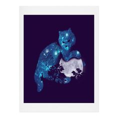 Budi Kwan Space Cat And The Moon Art Print   DENY Designs Home Accessories