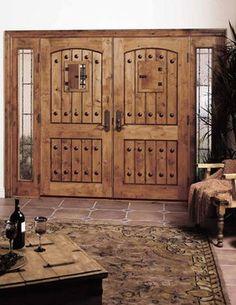 Jeld-Wen 1322 Distressed Alder Doors-Sidelights Chappo Finish - rustic - front doors - tampa - US Door & More Inc