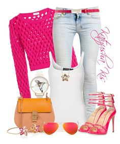 """""""Hot Pink with Moschino"""" by katyusha-kis ❤ liked on Polyvore"""