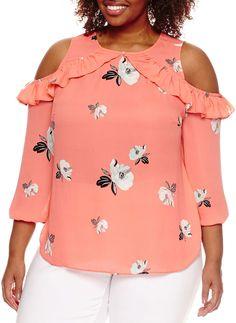 Plus Size Cold Shoulder Blouse