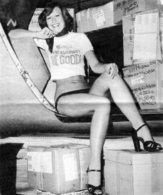 Miss Rhodesia, Corrine Prinsloo - in with the parcels aboard an Air Rhodesia Boeing 720