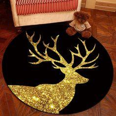 Zeegle Thicken Elk Printed Wear-Resisting Round Carpet Living Room Bedroom Rugs Anti-Slip Soft Baby Crawling Mats Yoga Chair Mat
