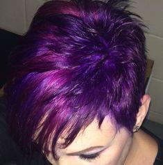 Purple Hair Color Ideas for Short Hair Purple Hair Color Ideas for Short Hair are in right now! Tell me, what can be better shade of purple hair colo., Hair Color Source by shortpixiecut Short Purple Hair, Blue Purple Hair, Very Short Hair, Short Hair Cuts, Short Pixie, Pixie Cuts, Purple Pixie, Lavender Hair, Lilac Hair