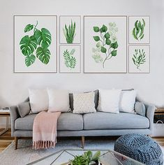 Modern Watercolor Green Leaf Floral Canvas Art Prints Poster Painting Home Decor