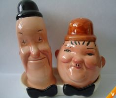 .Laurel  Hardy Salt  Pepper Shakers i love these, naturally.