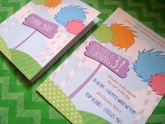 Printable Lorax Inspired Birthday Invitation